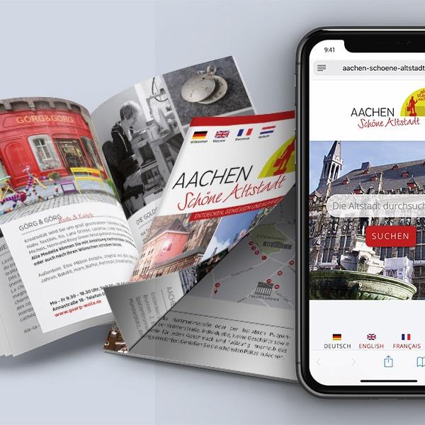 Broschüre und Webseite Aachen schöne Altstadt