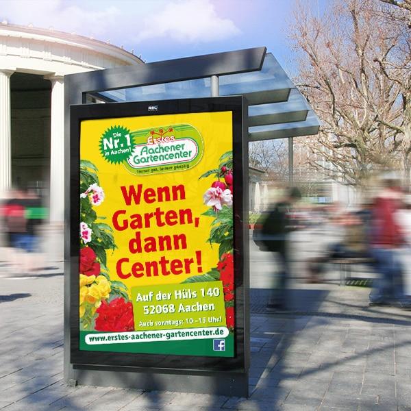 Citylight Plakat Werbung Erstes Aachener Gartencenter