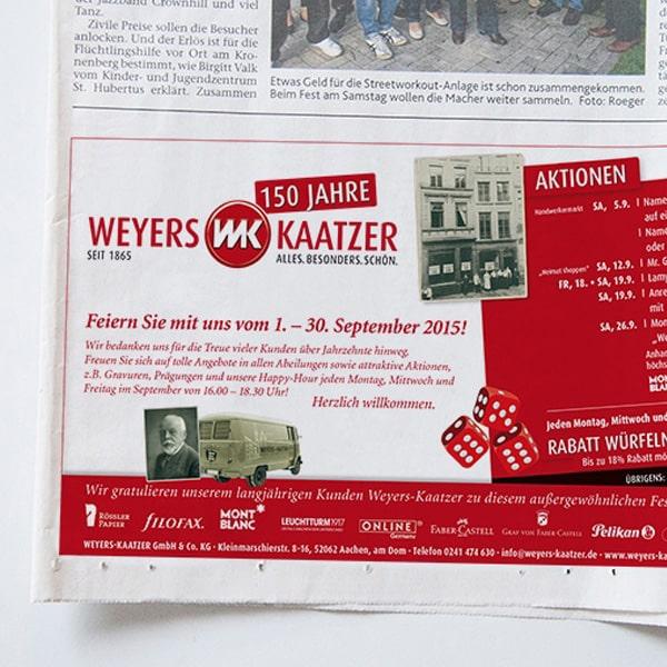 Zeitungsanzeige Weyers Kaatzer